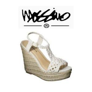 Mossimo Crochet top platform wedge heel espadrille